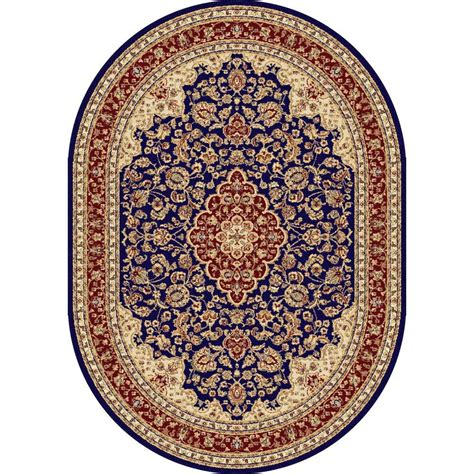 blue oval rug tayse rugs sensation navy blue 6 ft 7 in x 9 ft 6 in oval traditional area rug 4787 navy