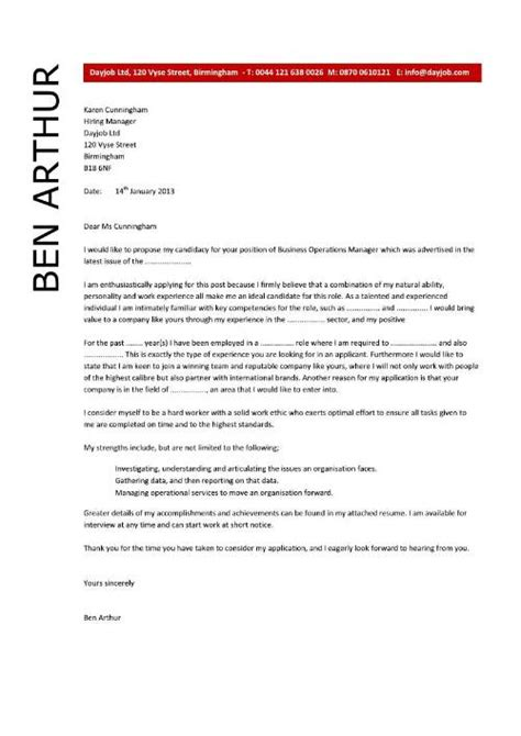 Cover Letter For Operations by Business Operations Manager Resume Exles Cv Templates Sles