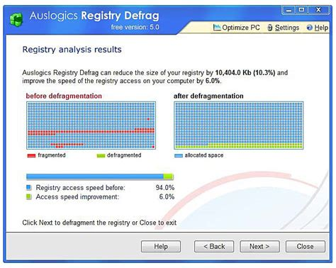 registry defrag call in the third party utilities defragmenting the