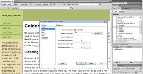 layout html dreamweaver how to add background color in dreamweaver cs5