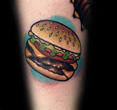 cheeseburger tattoo designs  men food ink ideas