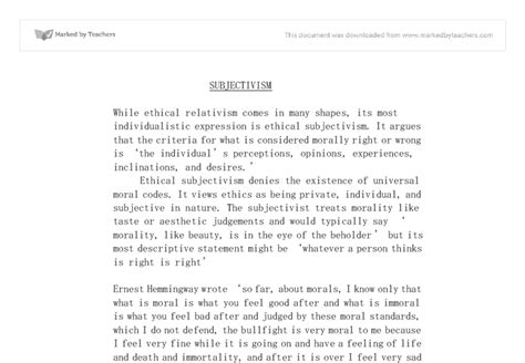 Essays Subjectivism In Ethics by Subjectivism As An Ethical Theory A Level Religious Studies Philosophy Marked By Teachers