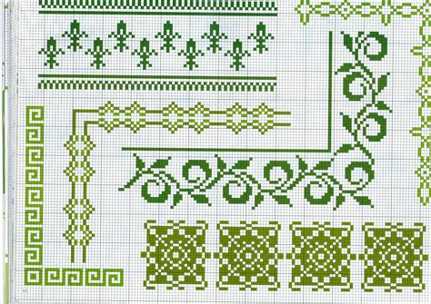 cornici di fiori da stare vari bordi da ricamare con fiori e geometrie verdi