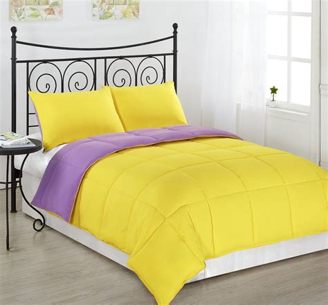 comforter yellow purple yellow bedding
