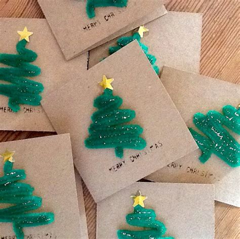 pipe cleaner christmas tree craft for cards crafty morning