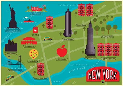 map of nyc with landmarks new york map with landmarks