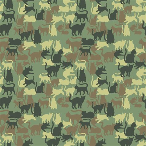 army pattern illustrator catmouflage a camouflage pattern with cats