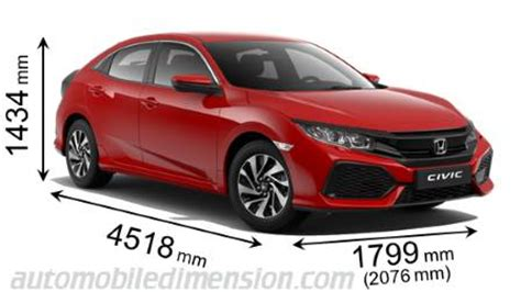 dimensions of honda cars showing length, width and height