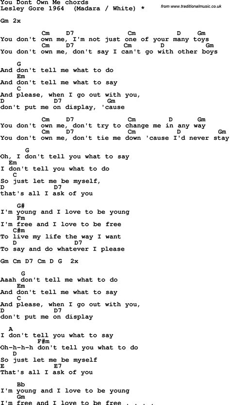 song t song lyrics with guitar chords for you don t own me