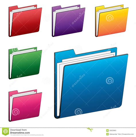 Colorful Folder Icons Set Stock Vector Image Of Object