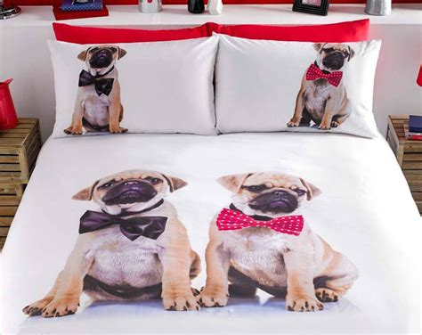 pug duvet set puppy pug bedding set duvet cover comforter cover brown white