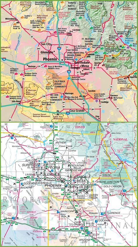 printable phoenix area map phoenix area road map