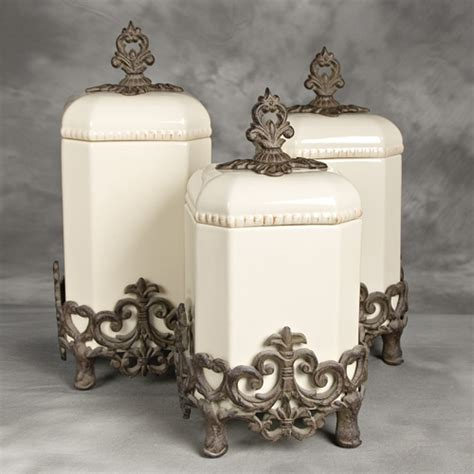 tuscan style kitchen canisters provencial canister set w metal base gg collection