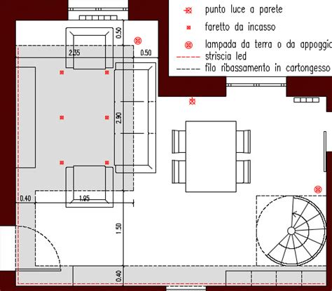 punti luce soggiorno progetto 30 mq architettura a domicilio 174