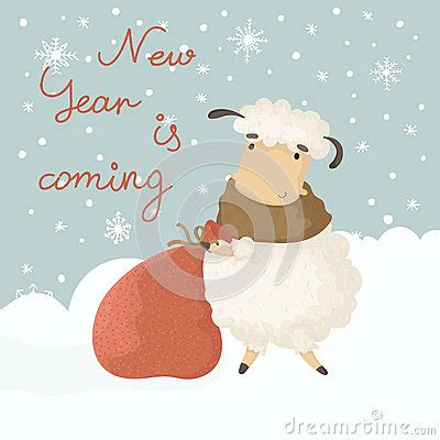 new year sheep gift card with a symbol of the new year stock vector