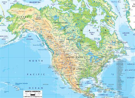 Physical Map of North America   Ezilon Maps