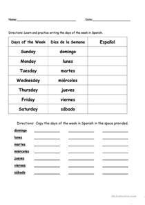 days of the week in spanish worksheet free esl printable
