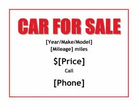 Car For Sale Sign Template by Car For Sale Sign Office Templates