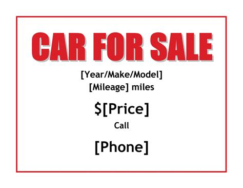 car for sale sign office templates