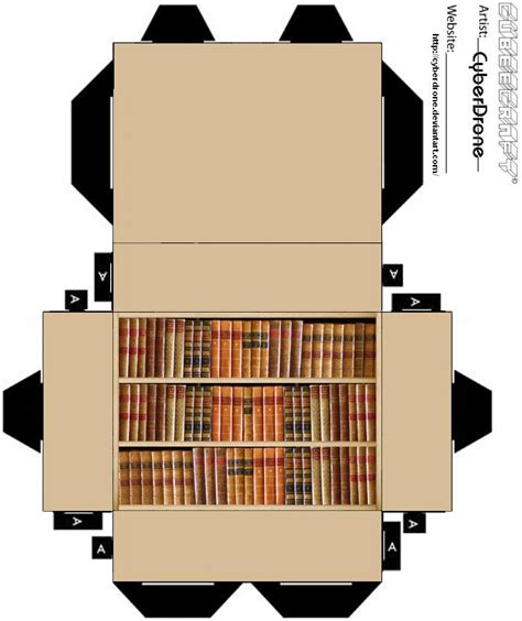 Papercraft Book - cubee bookcase by cyberdrone on deviantart