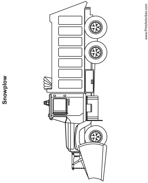 snow plow coloring page free printable truck activity