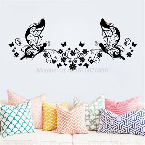 black butterfly wall stickers wall designs butterfly wall artclassical black flower butterfly wall living room floral