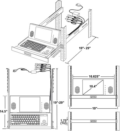 rack mount ps/2 keyboard drawer cad drawing, ultra compact