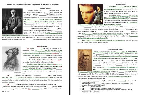biography simple past exercise biographies of famous people past simple