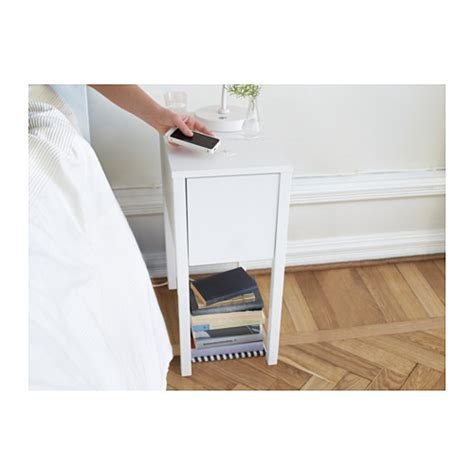 ikea nightstand charging station nordli bedside table w wireless charging white 30x50 cm ikea