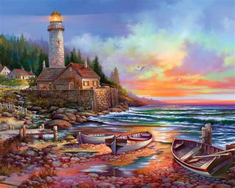 Country Cottage Cross Stitch lighthouse sunset paintings wallpaper