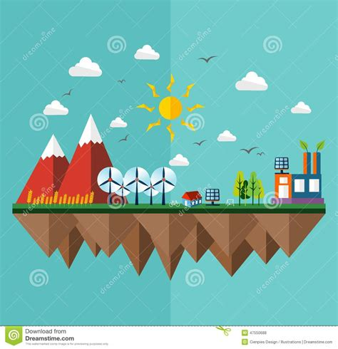 flat design poster vector ecology city flat concept stock vector image of earth