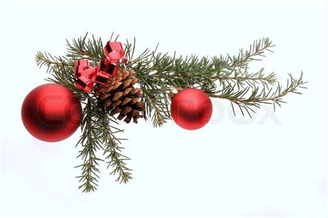 christmas decoration with pine branches red glass balls
