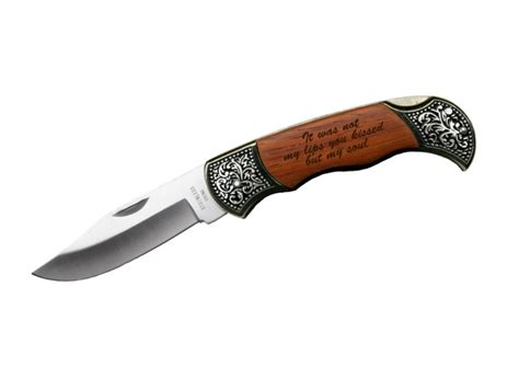 custom engraved quote on rosewood pocket knife gift