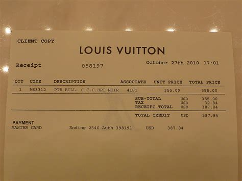 Louis Vuitton Receipt Template Maker by Access Denied