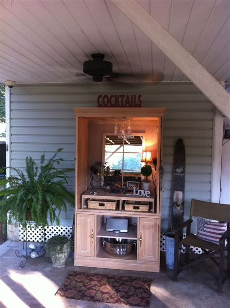 repurpose   armoire perfect outdoor bar yall