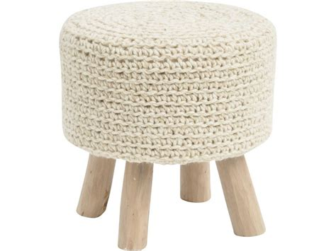 Chunky Stool by Knitted Stool Woven Wool Foot Stool