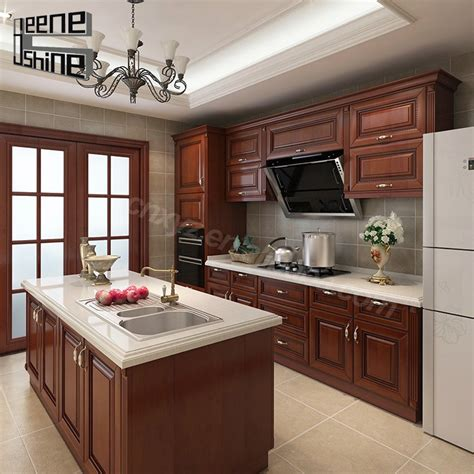 china modern solid wood kitchen cabinet china kitchen brown color modern design modular solid wood kitchen
