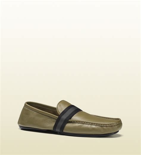 gucci loafers for mens gucci mens leather loafer from viaggio collection in green