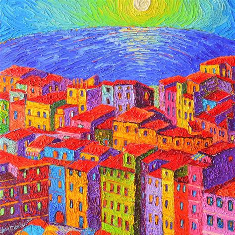 colorfu houses painting vernazza colorful houses cinque terre italy impressionist