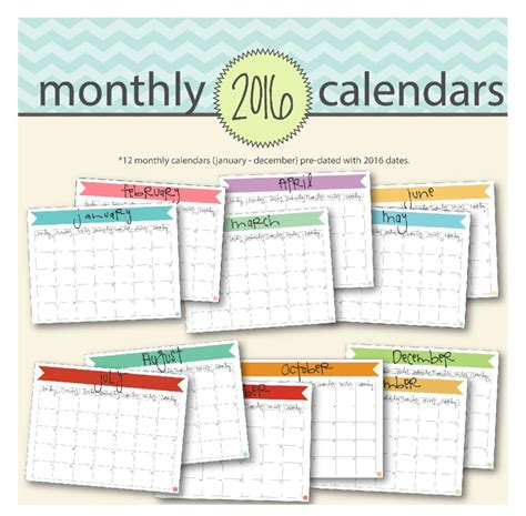 Printable Banner Calendar 2016 | free printable 2016 monthly calendar a5 pages live craft eat