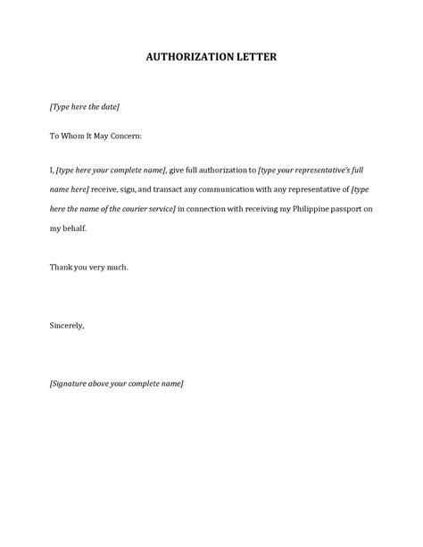 authorization letter proof of billing authorization letter to act on my behalf template