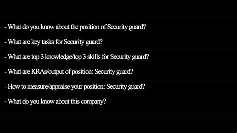 questions and answers for security guards