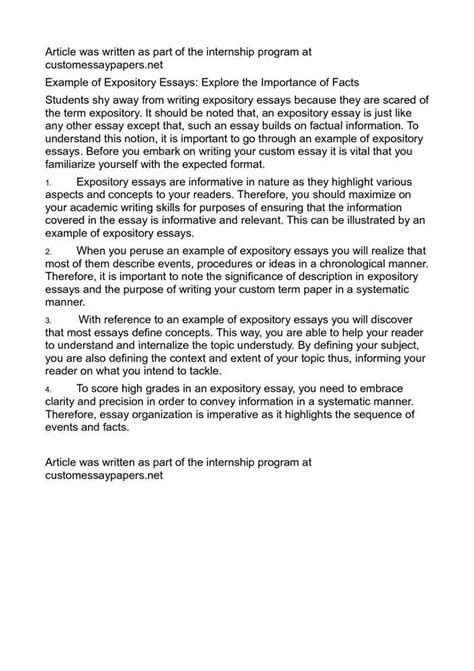 Expository Essay Exles For by Sle Expository Essay Web