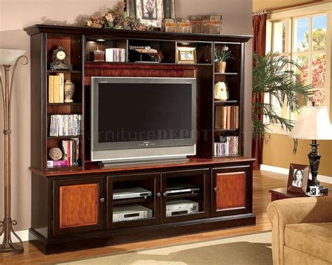 Two Tone Classic Wall Unit W Decorative Lights Glass Doors How To Decorate A Wall Unit