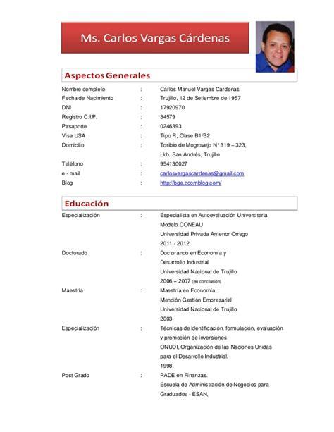 Modelo Curriculum Norteamericano Cv Carlos Vargas Cardenas
