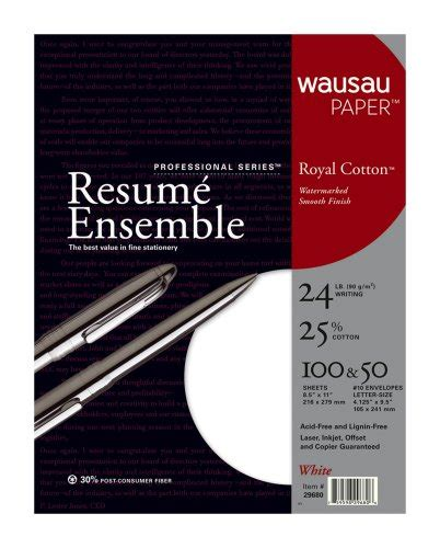 resume paper and envelopes wausau professional series royal cotton resume kit 29680