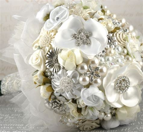 Bed Bath And Beyond Bridal Shower Registry brooch bouquet white cream ivory silver elegant wedding