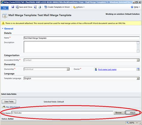 Mail Merge Template missing upload to crm in ms word mail merge in ms crm 2011