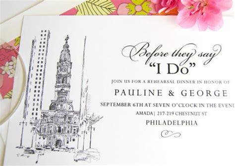 exclusively weddings rehearsal dinner invitations philadelphia city skyline rehearsal dinner invitations set of 25 cards 2465154 weddbook