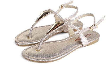 Wedges Emboss Glitter Flare Dress summer style flat dress sandals t metallic glitter pu with rhinestone and